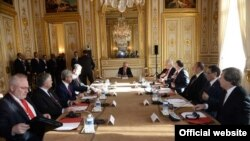 France -- The meeting of the Presidents of Armenia and Azerbaijan and the OSCE Minsk Group co-chairs, Paris, 27 Oct, 2014