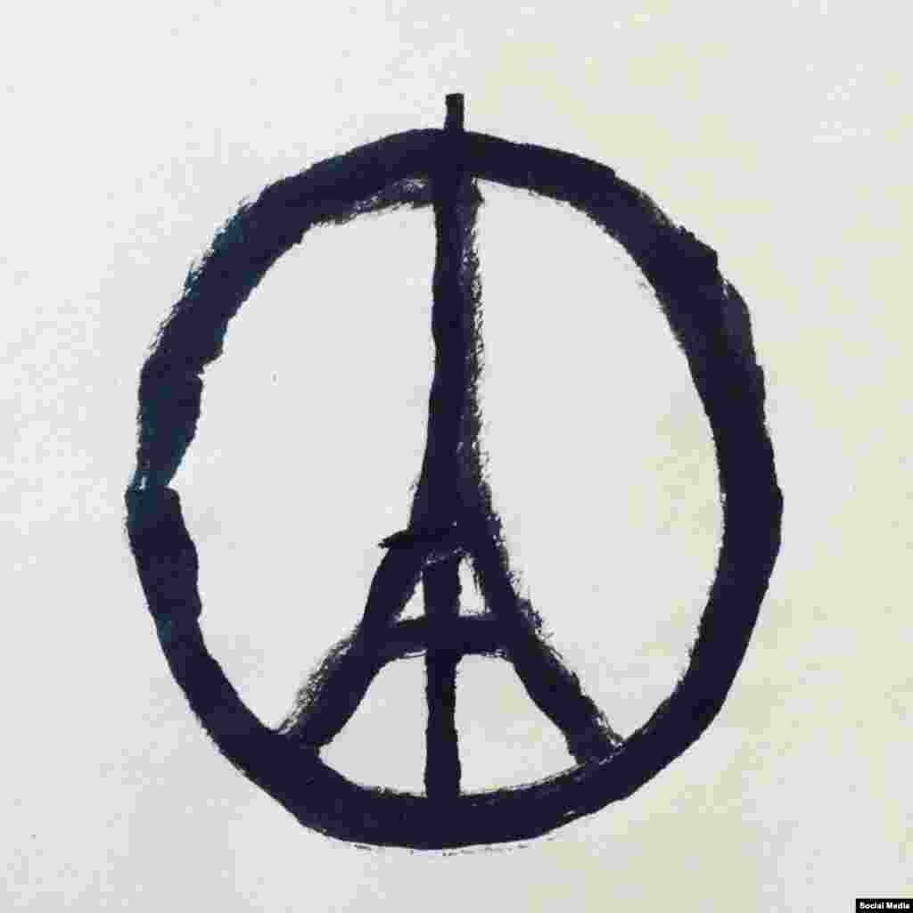 An image by French-born graphic designer Jean Jullien, widely and incorrecttly attributed to Banksy.