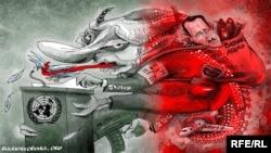 Політична карикатура Олексія Кустовського. До очікуваного виступу президента Росії Володимира Путіна на сесії Генеральної асамблеї ООН