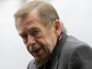 "Czech Republic -- Former Czech President, dissident and playwright Vaclav Havel speaks to media during the filming of a movie based on his play ""Leaving"" in Ceska Skalice on 20Jul2010"