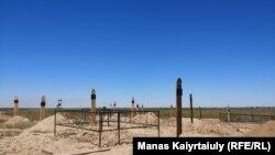 Коронавирустан қайтыс болғандар зираты. Алматы облысы, Қараой ауылы маңы. 29 мамыр 2020 жыл.