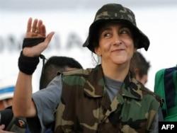 Ингрид Бетанкур сразу после освобождения. 2 июля 2008 года