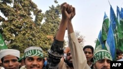Pakistani students march as they shout anti-Indian slogans in Lahore.