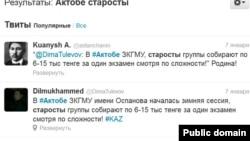 Dilmukhammed есімді интернет-пайдаланушының twitter-дегі жазбасы. 7 қаңтар 2013 жыл. Twitter әлеуметтік желісінен алынған скриншот.