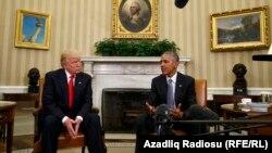 Президент США Барак Обама и его будущий преемник Дональд Трамп на встрече в Белом доме, 10 ноября 2016 года.