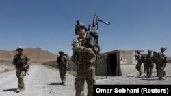 U.S. troops patrol at an Afghan National Army base in Logar Province (file photo)