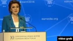 Председатель оргкомитета Евразийского медиафорума Дарига Назарбаева. (Скриншот видеосюжета телеканала 24KZ). Астана, 24 апреля 2014 года.