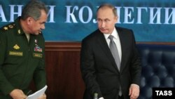Ռուսաստանի նախագահ Վլադիմիր Պուտին և պաշտպանության նախարար Սերգեյ Շոյգու, Մոսկվա, 11-ը դեկտեմբերի, 2015թ․