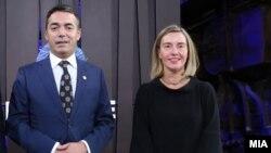 Архивска фотографија: Министерот за надворешни работи Никола Димитров и високата претставничка за надворешни работи на ЕУ, Федерика Могерини