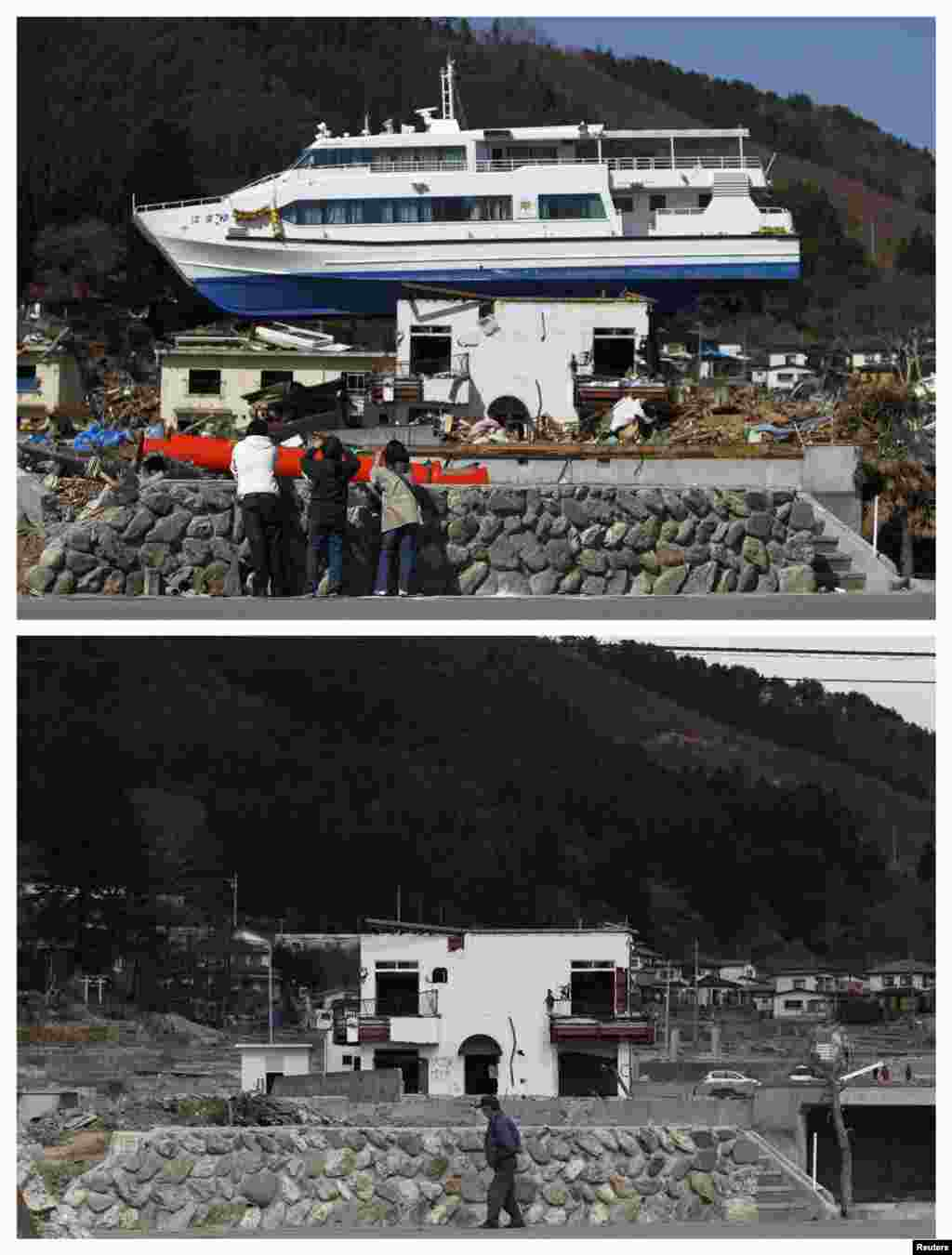 On top, people take pictures of a ship left on a building in Otsuchi, Iwate Prefecture, on April 17, 2011, and below on February 18, 2012