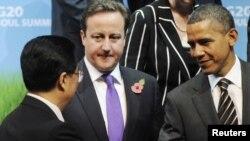 Barack Obama, Hu Jintao și David Cameron