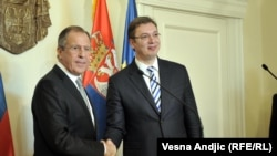 Russian Foreign Minister Sergei Lavrov and Aleksandar Vucic in Belgrade in December