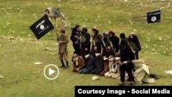 Нангархар уәлаятындағы ИМ-ге жақтас содырлардың ауған тұтқындарын өлтіруі туралы видеодан скриншот. Ауғанстан, 17 желтоқсан 2015 жыл.