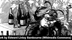 """Филлоксера – истинный гурман. Она выбирает лучшие виноградники и присасывается к лучшим винам. Карикатура из журнала """"Панч"""" (1890)"""