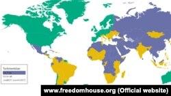 """Türkmenistan """"Freedom House"""" guramasynyň Metbugat azatlygy boýunça täze hasabatynda pes dereje aldy."""