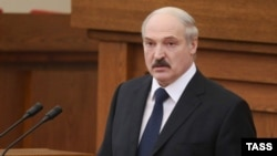 Belarusian President Alyaksandr Lukashenka delivers his annual message to the Belarusian people and National Assembly in Minsk on April 22.