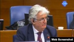 Радован Караджич в ходе суда в Гааге