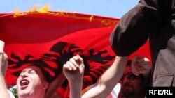 Архивска фотографија: Протест на албански невладини организации во Скопје во 2010 година.