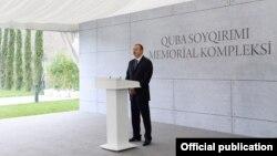 İlham Əliyev sentyabrın 18-də Quba Soyqırımı Memorial Kompleksinin açılışında iştirak danışan zaman (Foto: president.az)
