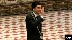 Reelected President Gurbanguly Berdymukhamedov at his inauguration in Ashgabat on February 17