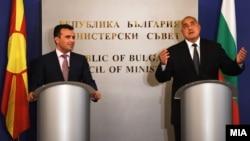 Прес-конференција на премиерите на Бугарија и на Македонија, Бојко Борисов и Зоран Заев во Софија.