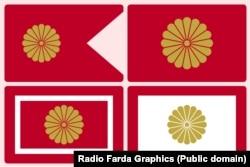 پرچمهای امپراتوری ژاپن با نشان گل داودی و ۱۶ گلبرگ طلاییرنگ (کیکو: نماد جوانی و طول عمر)، به ترتیب از بالا راست: پرچم امپراتور، پرچم شهبانو، پرچم خاندان امپراتوری و پرچم ولیعهد