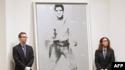 "Andy Warhol's ""Double Elvis"" sold for $37 million at Sotheby's in New York on May 9."