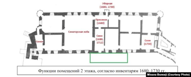Схема 2-га паверху палаца паводле інвэнтароў 1680-1730-х гадоў