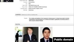 Информация на сайте Интерпола о розыске правительством Казахстана Ильяса Храпунова, сына бывшего топ-чиновника Виктора Храпунова.