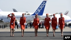 Aeroflot cabin crew at the Paris air show in 2015