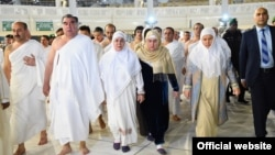 Tajik President Emomali Rahmon (second left) and his family make the umrah pilgrimage to Mecca in January 2015.