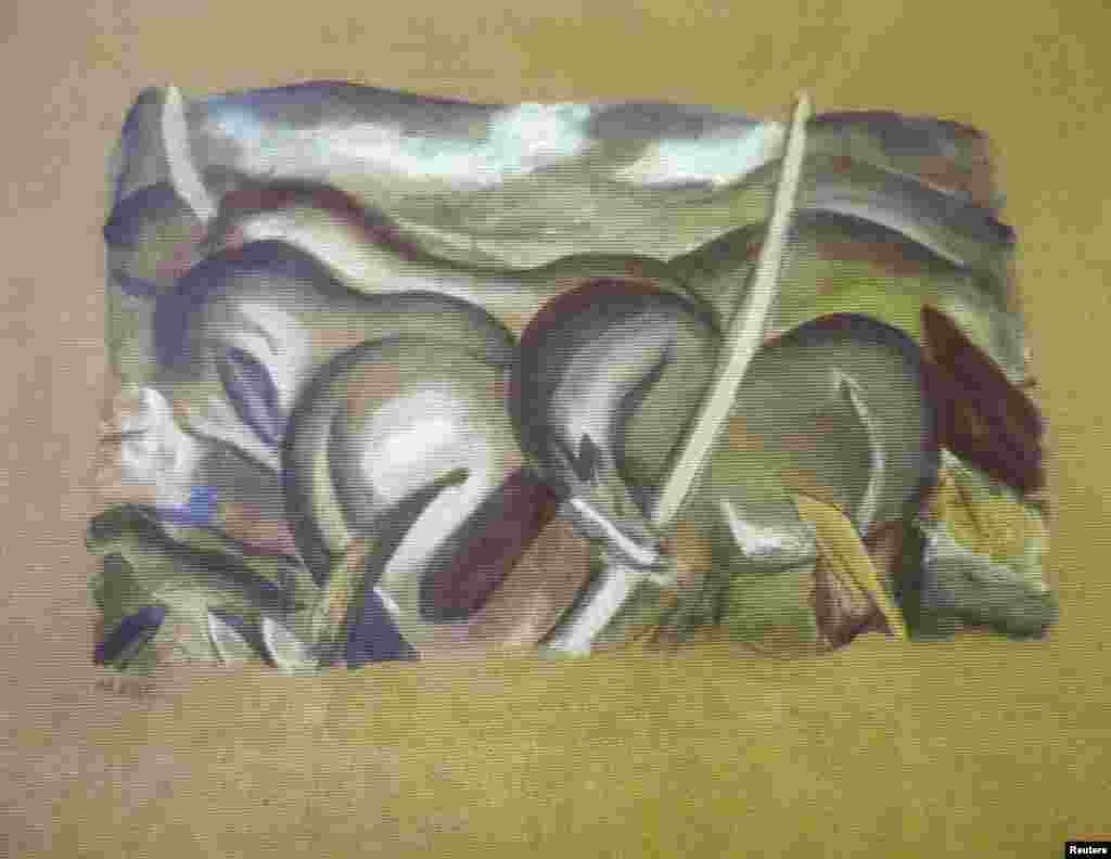 """Pferde in Landschaft"" (""Horses in Landscape""), a painting by German artist Franz Marc, who worked in the early years of the 20th century."