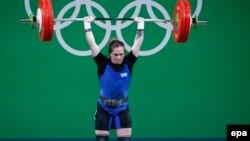 Қазақстандық ауыр атлет Карина Горичева 2016 жылы өткен Рио-де-Жанейро олимпиадасы ойындарында.