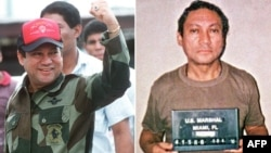 Панамский генерал Мануэль Норьега у власти (слева) и в тюрьме (справа).