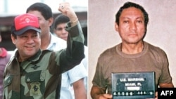 A combo photo of Panamanian General Manuel Noriega in and out of power -- in 1989 (left) and 1990