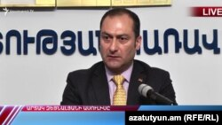 И. о. министра юстиции Артак Зейналян на итоговой пресс-конференции, Ереван, 17 декабря 2018 г.