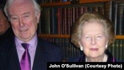 John O'Sullivan with Margaret Thatcher in London in 2009