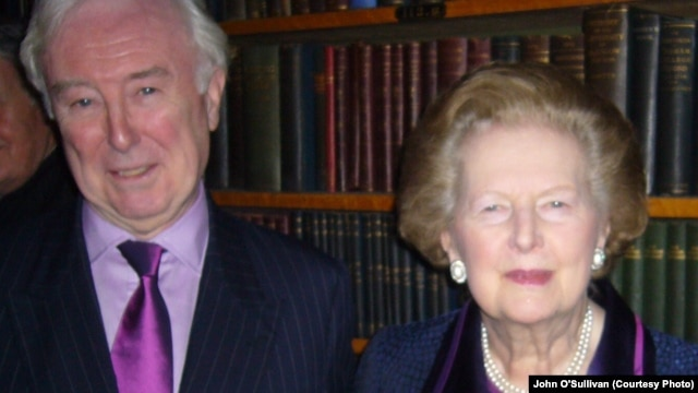 John O'Sullivan with Margaret Thatcher in London in 2009
