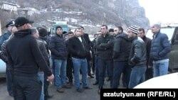 Armenia -- Protesting farmers block a road in Armavir, January 21, 2020.