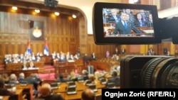 Голова уряду Росії Дмитро Медвєдєв виступає перед сербським парламентом, 19 жовтня 2019 року