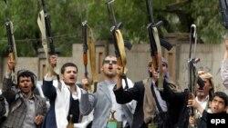 Disa mbështetës të rebelëve huthë, Jemen