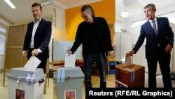 Liderii principalelor partide din Cehia la vot: Tomio Okamura, Ivan Bartos și Andrej Babis