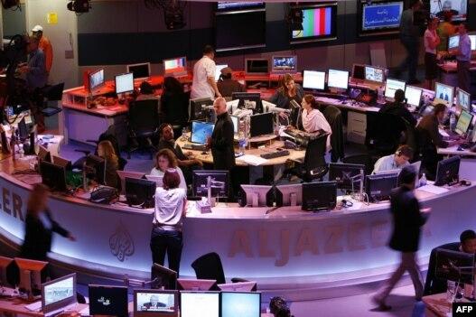 اتاق خبر تلویزیون الجزیره در مقر اصلی آن در دوحه قطر