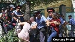 Акция протеста против вырубки деревьев на улице Токтоналиева. Июнь 2016 года.