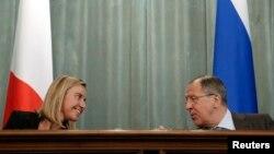 ფედერიკა მოგერინი და სერგეი ლავროვი, რუსეთი საგარეო საქეთა მინისტრი.