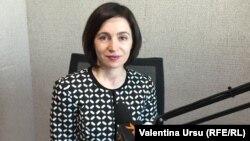 Maia Sandu în studioul Europei Libere la Chișinău
