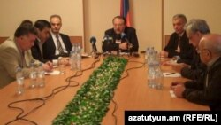 Armenia -- Representatives of four political forces announce the creation of a joint Inter-Party Center For Public Oversight Of the Elections, Yerevan, 4Apr2012.