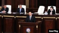 Ильхам Алиев выступает в Академии Наук Азербайджана, 26 апреля 2011