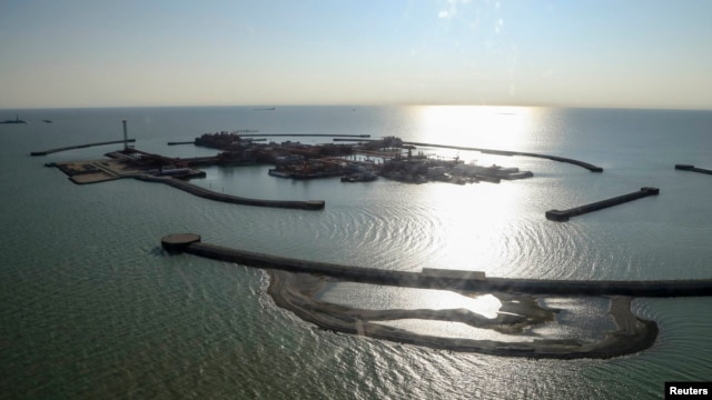 An aerial view shows artificial islands that have been built as part of the infrastructure for developing the Kashagan offshore oil field in the Caspian Sea. (file photo)