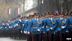 Serbian Army Guard elite units march during an inauguration ceremony in Belgrade in November 2006.